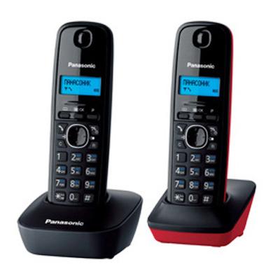 Радиотелефон Panasonic KX-TG1612RU3 черный-красный радиотелефон