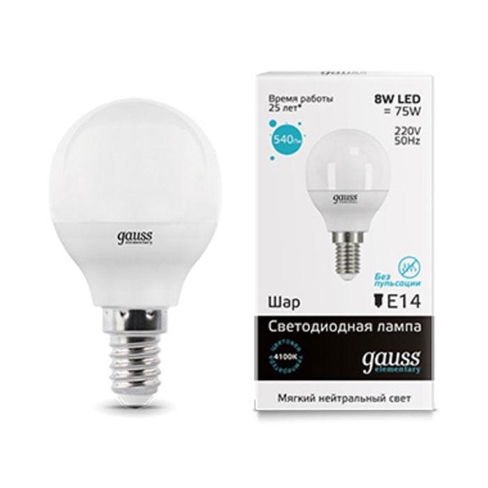 Светодиодная лампа Gauss Elementary LED Globe E14 8W 4100K 53128 лампа светодиодная gauss 33128 led elementary candle 8w e14 4100k 1 10 100