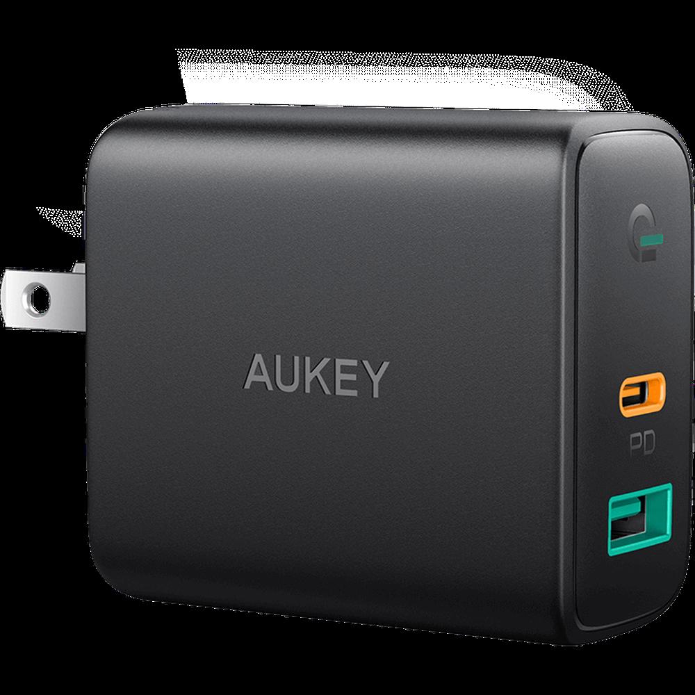 Фото - Сетевое зарядное устройство Aukey Dual-Port Wall Charger PA-D1 30W USB+USB-C, черное сетевое зарядное устройство apple 30w usb c power adapter my1w2zm a