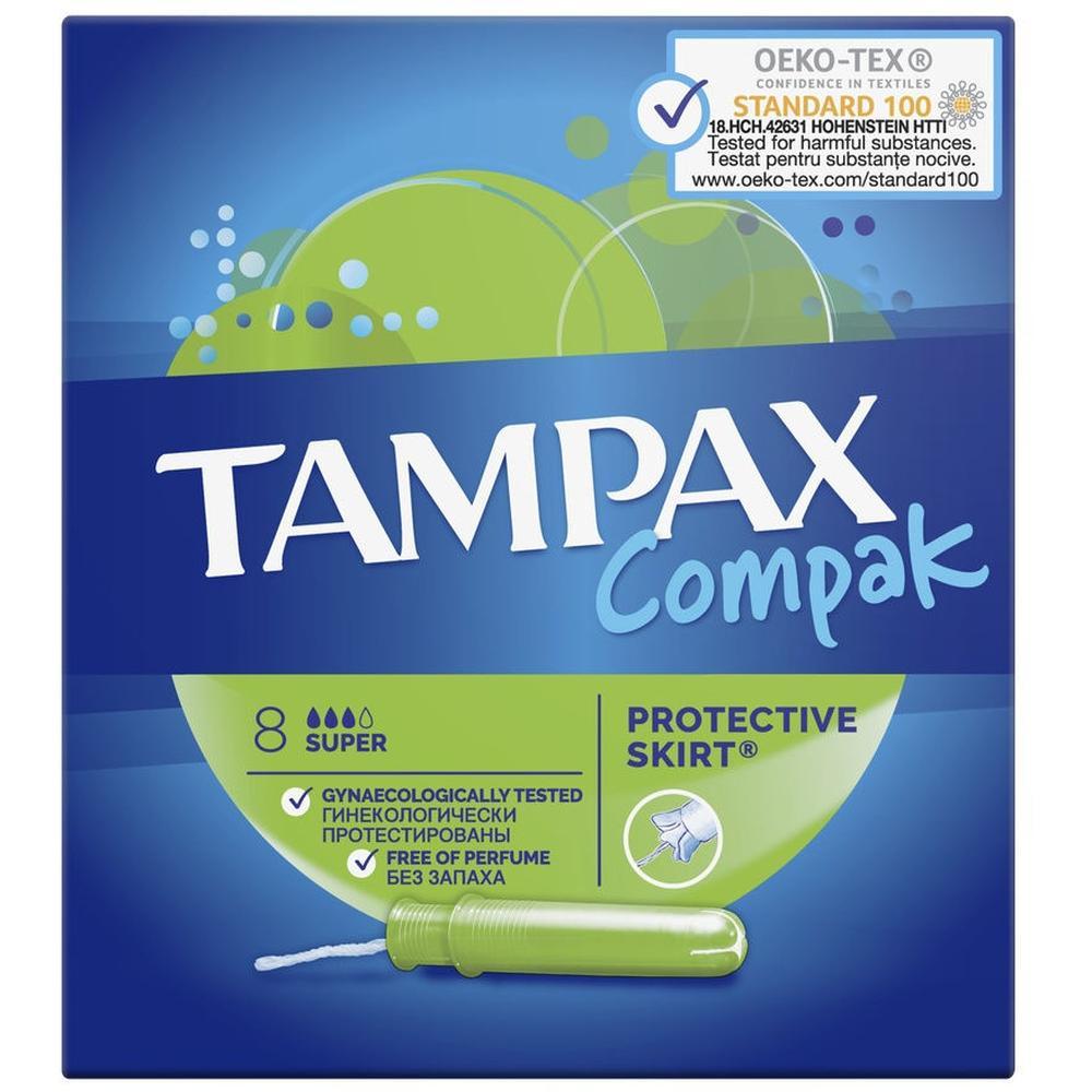 TAMPAX тампоны Compak Super, 8 шт. тампоны tampax compak super plus 16 шт