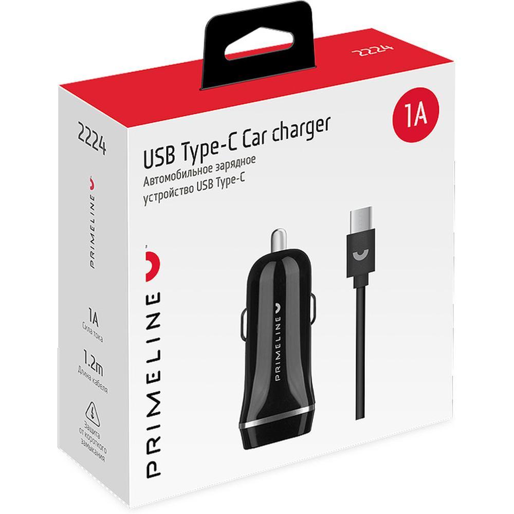 Фото - Автомобильное зарядное устройство Prime Line 1A кабель USB Type-C черное (2224) автомобильное зарядное устройство prime line 2221 usb 1a черный