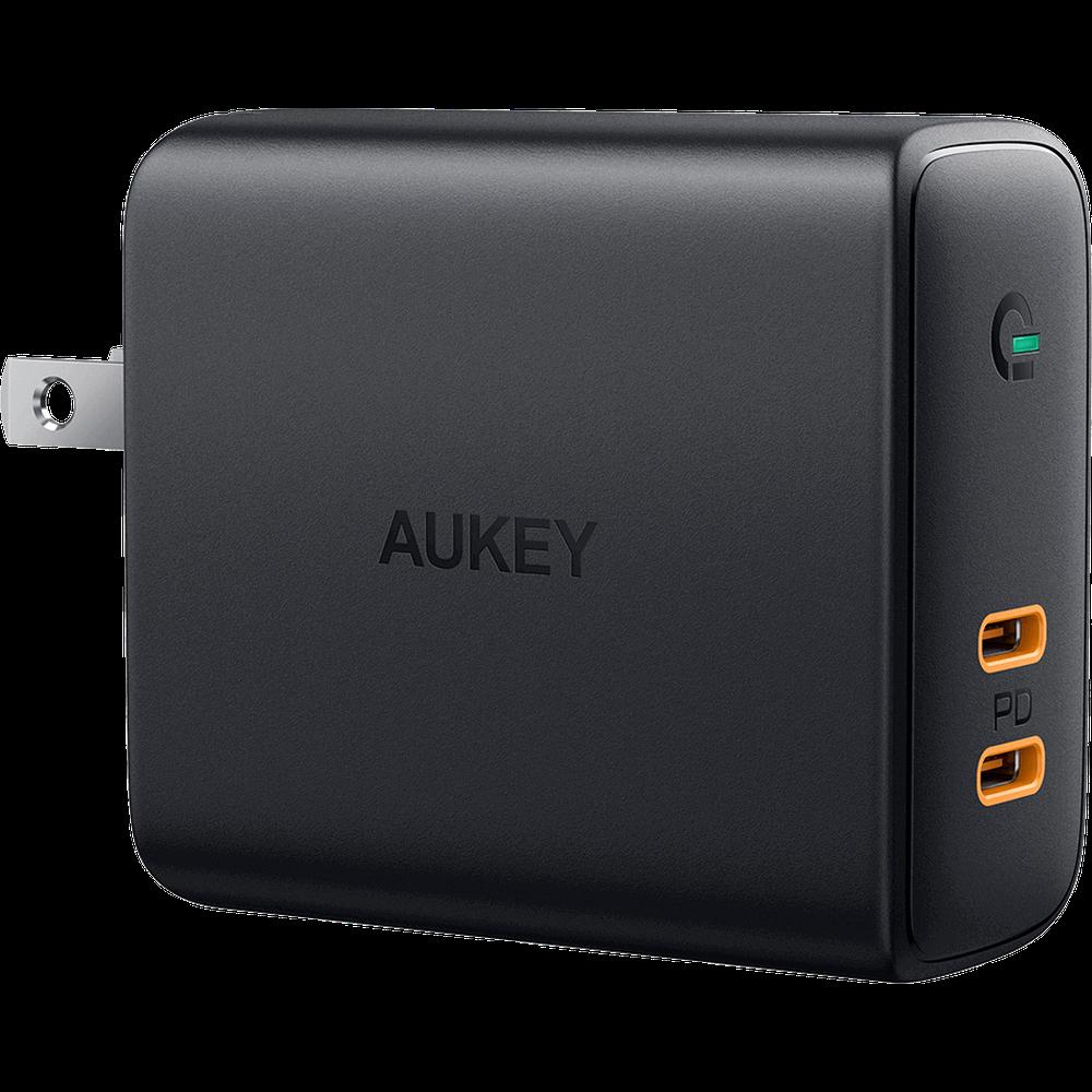 Фото - Сетевое зарядное устройство Aukey Dual-Port Wall Charger PA-D2 36W 2xUSB-C, черное сетевое зарядное устройство stm gl150
