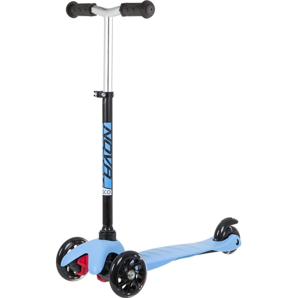 Самокат детский Novatrack Disco-kids Basic свет.колеса PU пер.120*24 задн.76*24мм, регулируемый по высоте, черно-синий