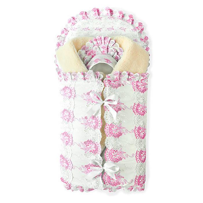 Комплект на выписку Осьминожка 8-ми пр., (розов. кружево), конверт,одеяло шитьё на меху(100*100) 0 pr на 100