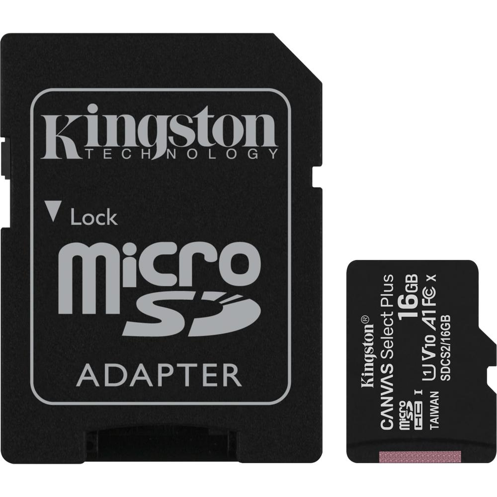 Фото - Карта памяти Micro SecureDigital 16Gb Kingston Canvas Select Plus SDHC class 10 UHS-I (SDCS2/16GB) + SD адаптер карта памяти kingston micro sdhc 32gb canvas select plus uhs i u1 a1 adp 100 10 mb s