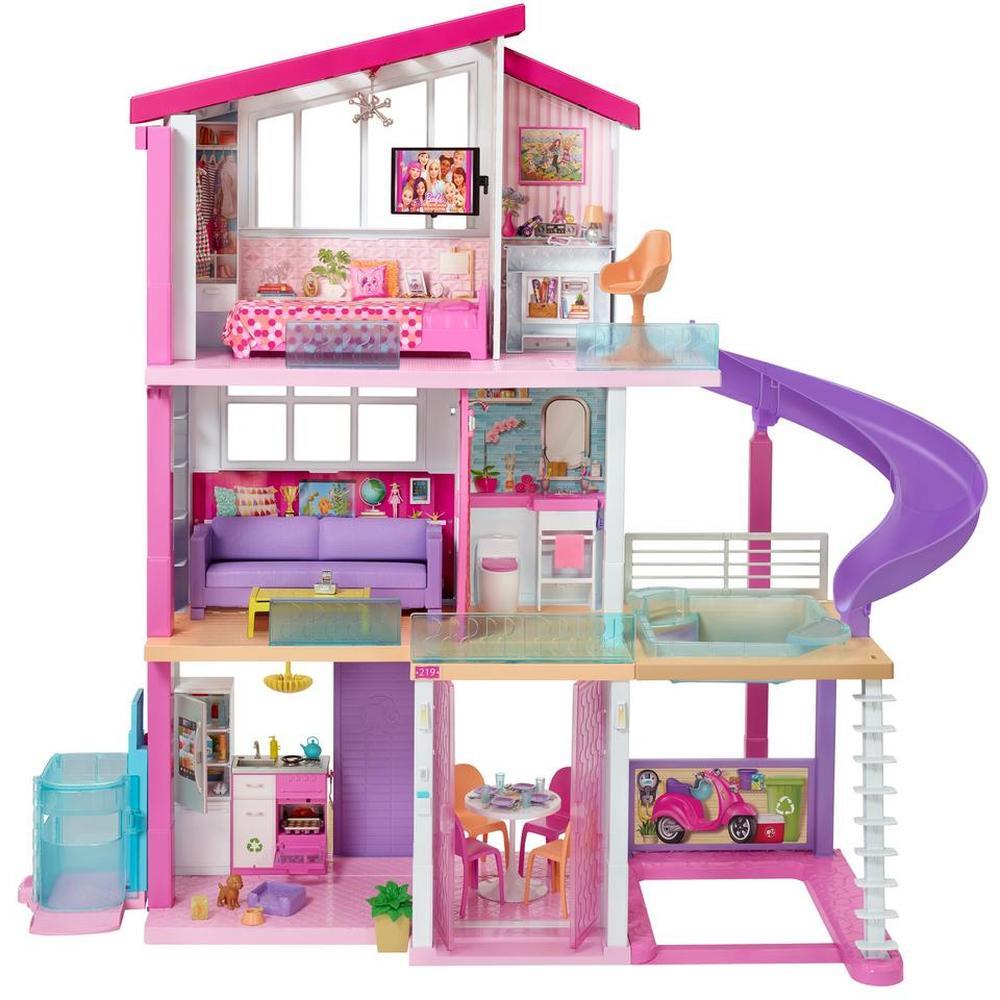 Mattel Barbie Дом Мечты трехэтажный с лифтом, бассейном, горкой и мебелью GNH53