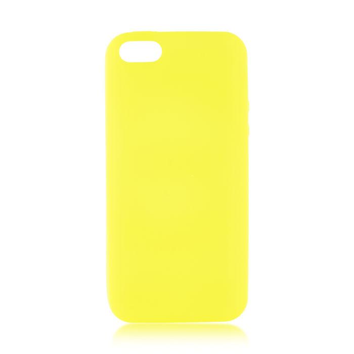 Чехол для iPhone 5\5S\SE Brosco Colourful, накладка, желтый чехол для iphone 5 iphone 5s iphone se brosco soft rubber накладка черный