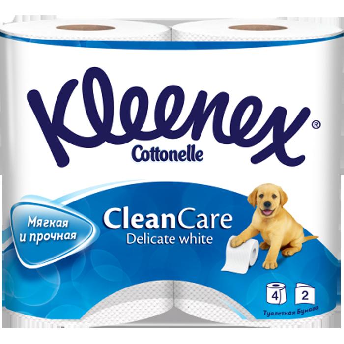 Kleenex Туалетная бумага Clean care Delicate white двухслойная, 4 шт.