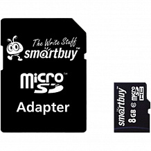 Карта памяти Micro SecureDigital 8Gb Smartbuy SDHC class 10 (SB8GBSDCL10-01) + SD адаптер