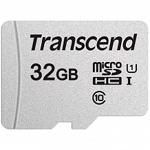 Карта памяти Micro SecureDigital 32Gb HC Transcend class10 UHS-1 (TS32GUSD300S-A)+ SD адаптер