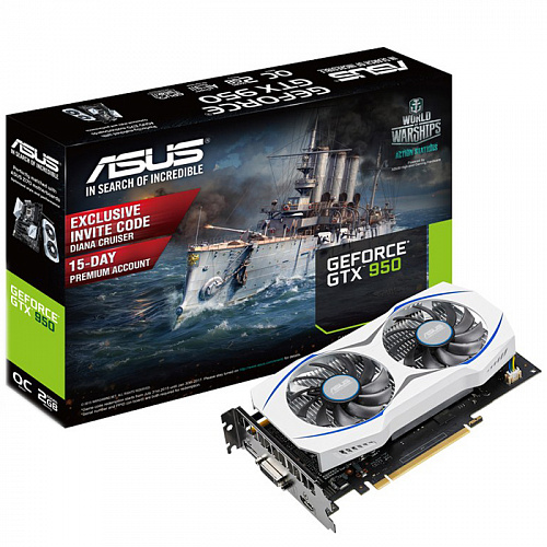 Видеокарта ASUS GeForce GTX 950 2048Mb, GTX950-OC-2GD5 1xDVI, HDMI, DP Ret