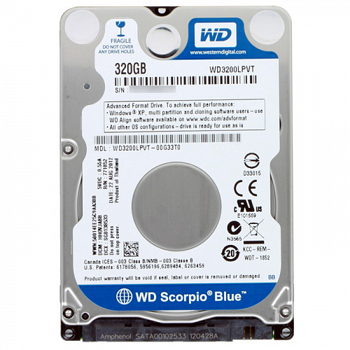 "320Gb 2.5"" Western Digital (WD3200LPVT) 8Mb 5400rpm SATA2 Blue"